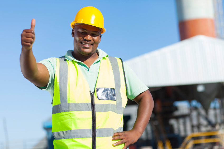 happy african construction worker giving thumb up